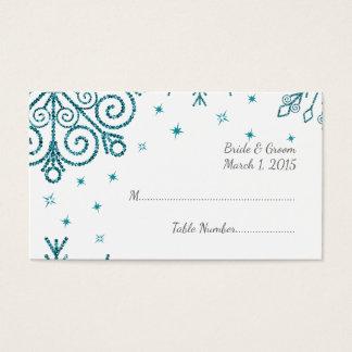 Cartes De Visite Mariage scintillant bleu d'hiver de flocons de