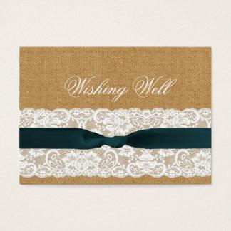 Cartes De Visite Mariage turquoise de dentelle et de toile de jute