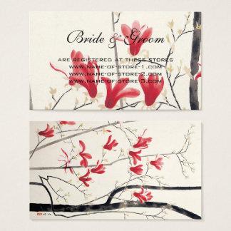 Cartes De Visite Mariage vintage, arbre de magnolia de rose