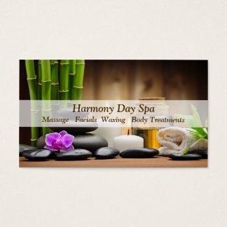 Cartes De Visite Massage en bambou de spa de zen d'huile de fleur