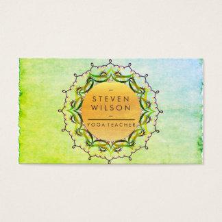 Cartes De Visite Massage holistique de vert de méditation de yoga