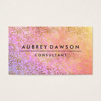 Cartes De Visite Mélange pourpre d'or de rose chic de confettis