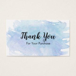 Cartes De Visite Merci bleu d'éclaboussure d'aquarelle