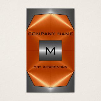 Cartes De Visite Métal gris et orange d'acier inoxydable