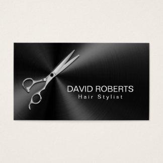 Cartes De Visite Métallique noir moderne de rendez-vous de coiffeur