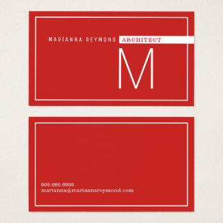Cartes De Visite minimaliste et moderne, rouge d'architecte