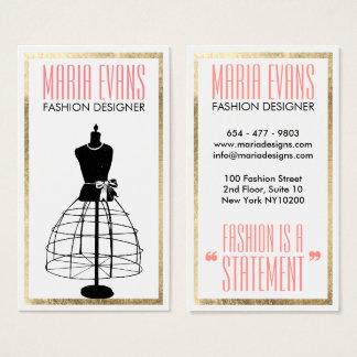 Cartes De Visite Mode blanche de mannequin d'or noir vintage de