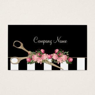 Cartes De Visite Mode de rayures de roses de studio de cheveux de