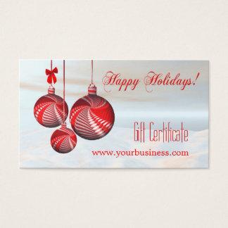 Cartes De Visite Modèle de fête de certificat-prime de vacances