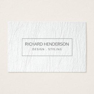 Cartes De Visite Moderne minimal simple simple de cuir blanc de