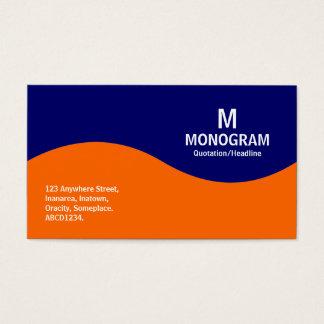 Cartes De Visite Monogramme à demi onde - orange avec 000066