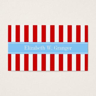 Cartes De Visite Monogramme blanc rouge de nom de bleu de ciel de
