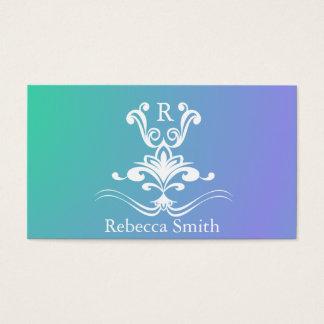 Cartes De Visite Monogramme de Flourish sur le bleu de gradient