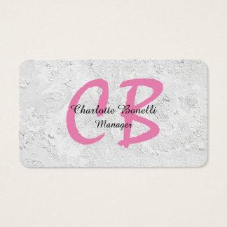 Cartes De Visite Monogramme gris féminin professionnel de rose de