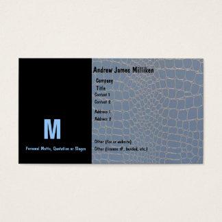 Cartes De Visite Monogramme initial bleu de peau de serpent