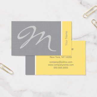Cartes De Visite Monogramme jaune et gris de pois
