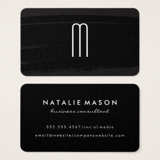 Cartes De Visite Monogramme minimaliste moderne sur le noir balayé