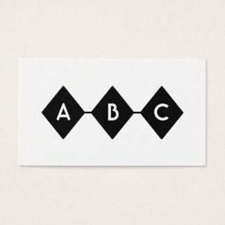Cartes De Visite Monogramme noir et blanc de trois diamants