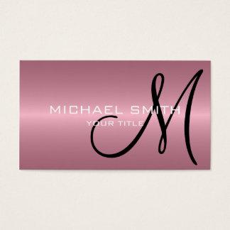 Cartes De Visite Monogramme rose en métal d'acier inoxydable