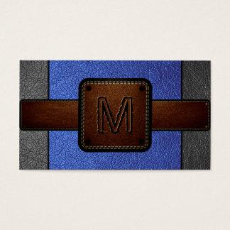 Cartes De Visite Monogramme simili cuir bleu de Brown