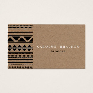 Cartes De Visite Motif aztèque tribal rustique de papier de Brown