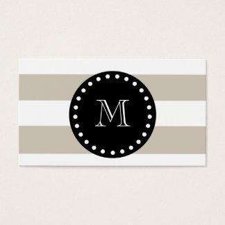 Cartes De Visite Motif blanc beige de rayures, monogramme noir
