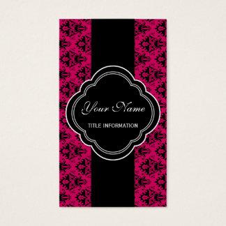 Cartes De Visite Motif de damassé de roses indien et de noir