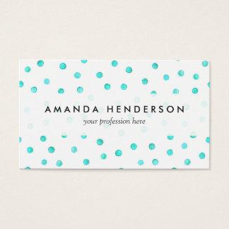 Cartes De Visite Motif de points blanc bleu turquoise de confettis