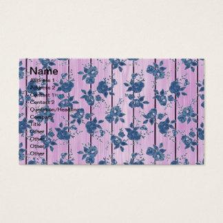 Cartes De Visite Motif floral bleu rose Girly vintage