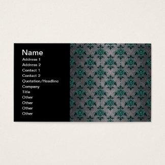 Cartes De Visite Motif victorien de damassé de turquoise grise