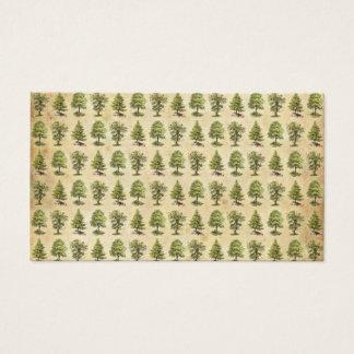 Cartes De Visite Motif vintage d'arbres de vacances