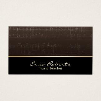 Cartes De Visite Musical élégant de musicien de professeur de