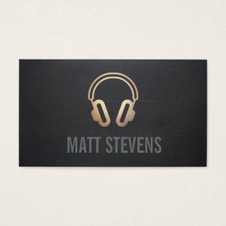 Cartes De Visite Musique noire du DJ d'écouteurs frais d'or