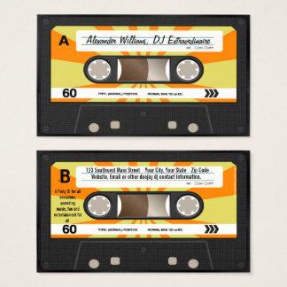 Cartes De Visite Musique orange/jaune DJ d'enregistreur à cassettes