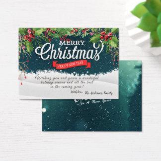 Cartes De Visite Noël floral de vacances de poinsettia souhaite la