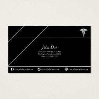 Cartes De Visite Noir/blanc de cuivre médicaux de logo de serpent