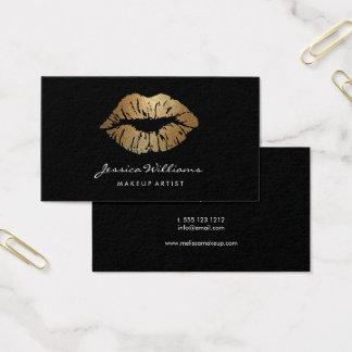 Cartes De Visite Noir de lèvres d'or de maquilleur