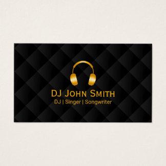 Cartes De Visite Noir de luxe et or d'icône d'écouteurs du DJ