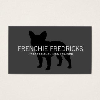 Cartes De Visite Noir de silhouette de bouledogue français sur le