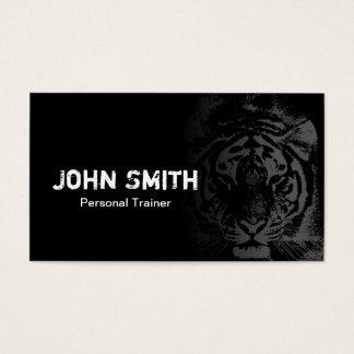 Cartes De Visite Noir de tatouage de tigre de cool d'entraîneur de