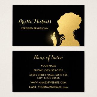 Cartes De Visite Noir d'esthéticien et maquilleur de femme d'or de