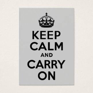 Cartes De Visite Noir et gris gardez le calme et continuez