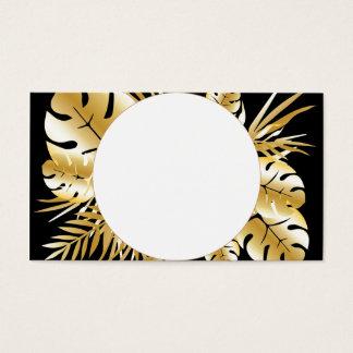 Cartes De Visite Noir et modèle tropical élégant de feuille d'or