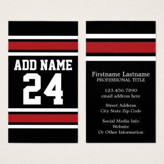 Cartes De Visite Noir et rouge folâtre le nombre nommé fait sur