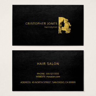 Cartes De Visite Noir simple de luxe d'or de styliste en coiffure