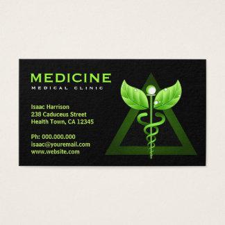 Cartes De Visite Noir vert Bizcards de caducée de médecine douce