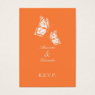 Cartes De Visite Note orange simple du papillon RSVP mini