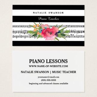 Cartes De Visite Notes musicales modernes florales chics de
