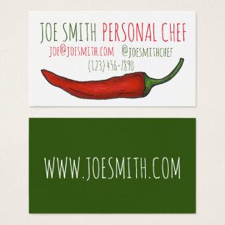 Cartes De Visite Nourriture rouge de cuisinier de restaurant de