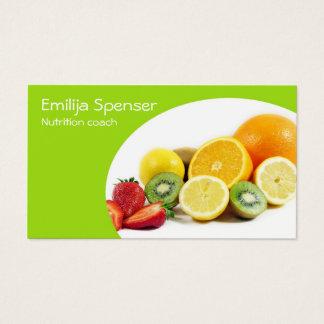 Cartes De Visite Nutritionniste jaune vert/carte saine de la vie